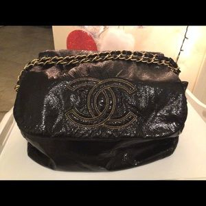 Chanel rock and chain accordion black patten bag